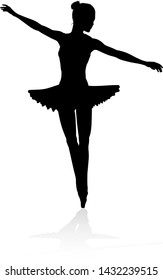A high quality detailed silhouette of a ballet dancer dancing