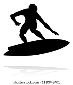 A high quality detailed silhouette of a surfer surfing the waves on his surfboard