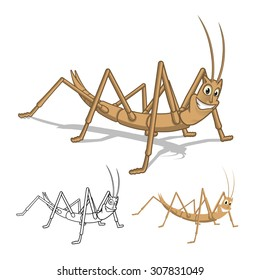 High Quality Detailed Stick Insect Cartoon Character with Flat Design and Line Art Black and White Version Vector Illustration