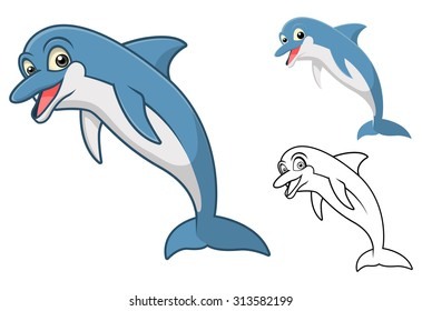 High Quality Dolphin Cartoon Character Include Flat Design and Line Art Version