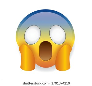 High quality emoticon isolated on white background.Screaming emoticon emoji with two hands holding the face. Blue face sleepy emoji.Popular chat elements. Trending emoticon.