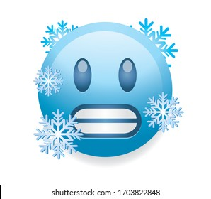 High quality emoticon isolated on white background. icy blue face with gritted teeth as if frozen from extreme cold with snow flakes.Popular chat elements. Trending emoticon. Blue face cold smiley.