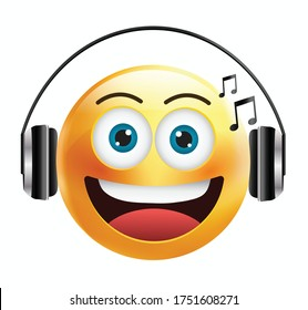 High quality emoticon isolated on white background.Emoticon with headphones.Yellow face with headphones.Music emoticon.Music emoji.Emoticon with earphones