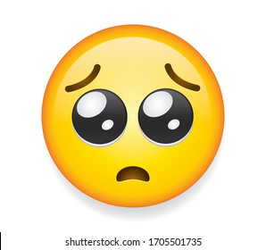 High quality emoticon on isolated on white background. Pleading face emoji. Yellow face emoji with a small frown, and large eyes, as if begging or pleading.Popular chat elements. Trending emoticon.