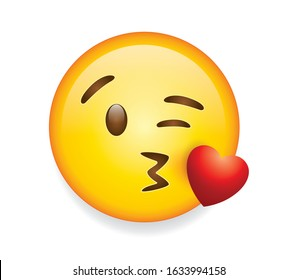 High quality emoticon on white background vector illustration. Emoji with flying kiss red heart  and winking eye face. A yellow face emoji kiss.Popular chat elements. Trending emoticon.