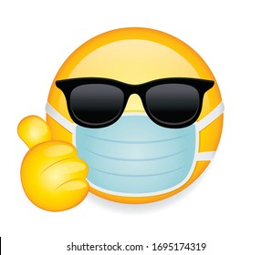 High quality emoticon on white background. Emoji with sunglasses,thumbs up and mask. Yellow sick emoji wearing sunglasses and medical mask to protect from virus vector.Medical mask emoticon.
