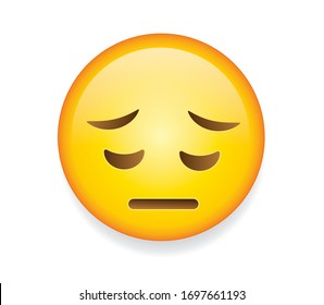 High quality emoticon on white background. Pensive, remorseful face,saddened by life.  Yellow face with sad, closed eyes, furrowed eyebrows, and a slight, flat mouth.Sad emoji.Unhappy emoticon.