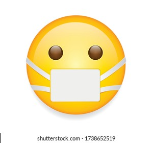 High quality emoticon on white background. Emoticon with medical mask.Mask emoji vector illustration. Corona emoji.Virus emoticon.Medical mask emoticon.