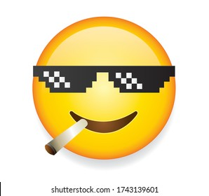High quality emoticon on white background.Smiley Thug Life emoticon.Glasses emoji face with cigarette pixel art.Emoticon with sunglasses vector illustration.Thug life emoji.