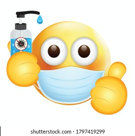 High quality emoticon on white background.Emoji with sanitizer.Face With Medical Mask and hand wash emoji.Mask emoji. Medical Mask emoticon.Thumbs up emoji.