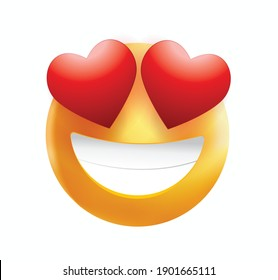 High quality emoticon smiling, love emoji isolated on white background. Yellow face emoji with red heart eyes and smile vector illustration. Popular chat elements. Trending emoticon.