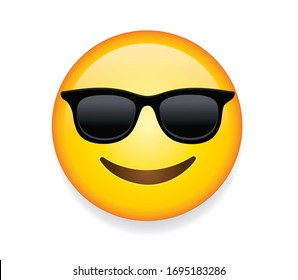 High quality emoticon with sunglasses. Emoji vector. Cool smiling Face with Sunglasses vector illustration. Yellow face with broad smile wearing black sunglasses. Sunglasses emoji.