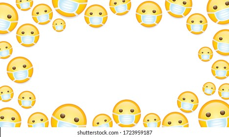 High quality emoticons on white background. emoji with closed eyes and mask. Face With Medical Mask emoji vector illustration wallpaper.Mask emoji.Mask emoticon.