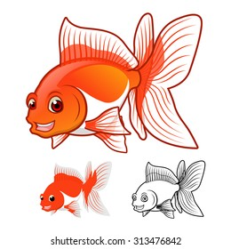 High Quality Fantail Goldfish Cartoon Character Include Flat Design and Line Art Version