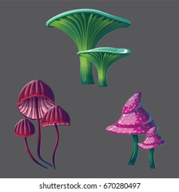 A high quality fantasy mushrooms set. Bright, cartoon, fantastic natural objects isolated on gray.