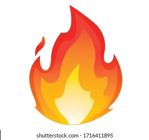 High quality fire emoticon isolated on white background.Fire emoji vector illustration.Lit icon.