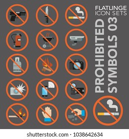 High quality flat colorful icons of waring sign, prohibited symbol. Flatlinge are the best pictogram pack unique design for all dimensions and devices. Vector graphic, logo symbol and website content.