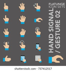 High quality flat colorful icons of hand signal and finger gesture. Flatlinge are the best pictogram pack unique design for all dimensions and devices. Vector graphic logo symbol and website content.