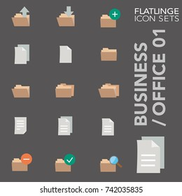High quality flat colorful icons of secretarial file, folder. Flatlinge are the best colored pictogram pack unique design for all dimensions and devices. Vector graphic logo symbol and website content