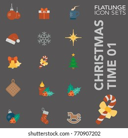 High quality flat colorful icons of Christmas time and Xmas. Flatlinge are the best colored pictogram pack unique design for all dimensions and devices. Vector graphic logo symbol and website content.