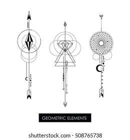 High quality geometric element. Sacred geometry. Isolated objects.