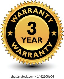 High quality golden 3 year warranty badge, sign, seal, label, stamp.