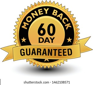 High quality golden 60 day money back guaranteed badge, sign, seal, label, stamp with ribbon.