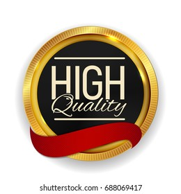 High Quality Golden Medal Icon Seal  Sign Isolated on White Background. Vector Illustration EPS10