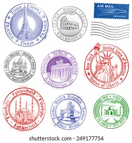 High quality Grunge Vector Stamps of major monuments around the world.