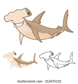 High Quality Hammerhead Shark Cartoon Character Include Flat Design and Line Art Version