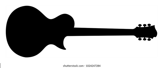 High Quality Hand Drawn Black Silhouette of an Heavy Metal Guitar