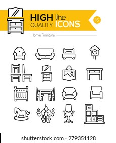 High Quality Home furniture line icons