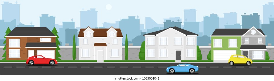 High quality horizontal background of cityscape with houses, trees, cars, road, and city silhouette. Simple 2d background for game. Cartoon street. Beautiful template. Flat style vector illustration.