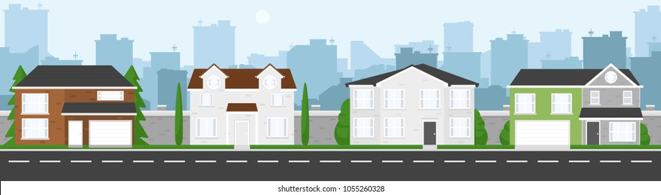 High quality horizontal background of cityscape with houses, trees, road, and city silhouette. Simple 2d background for game. Cartoon street. Beautiful urban template. Flat style vector illustration.