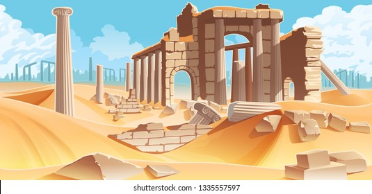 A high quality horizontal background with desert and palms. City ruins on the horizon. For use in developing, prototyping  adventure, side-scrolling games or apps.