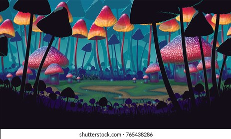 A high quality horizontal background of landscape with deep mushroom forest. Alternative ecosystem. Planet of giant mushrooms. Background for side scroller game.