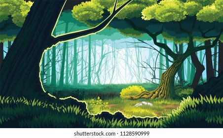 A high quality horizontal seamless background of landscape with deep forest. Horizontal tiles. For use in developing, prototyping  adventure, side-scrolling games or apps.