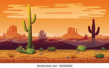 A high quality horizontal seamless background of landscape with desert and cactus. Sunset on a background of a mountain landscape. Vector game graphic.