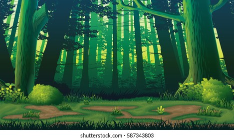 A high quality horizontal seamless background with forest