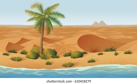 A high quality horizontal seamless background with desert, oasis, palms and dry grass. Pyramids on the horizon.
