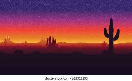 A high quality horizontal seamless background of landscape with desert and cactus. Sunset on a background of a mountain landscape.