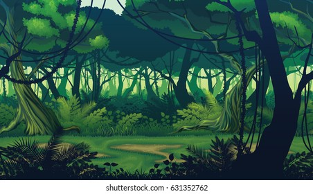 A high quality horizontal seamless background of landscape with deep jungle.