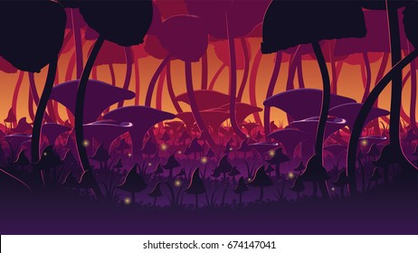 A high quality horizontal seamless background of landscape with deep mushroom forest. Alternative ecosystem. Planet of giant mushrooms. Endless background for side scroller game.