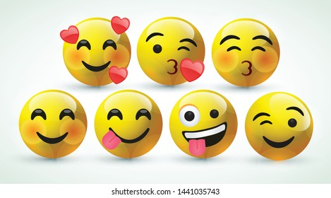high quality icon 3d vector round yellow cartoon bubble emoticons for social media Whatsapp Instagram Facebook Twitter chat comment reactions icon template face love, laughter emoji character message