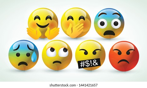high quality icon 3d vector round yellow cartoon bubble emoticons for social media Whatsapp Instagram Facebook  Twitter chat comment reactions icon template face tear, angry emoji character message