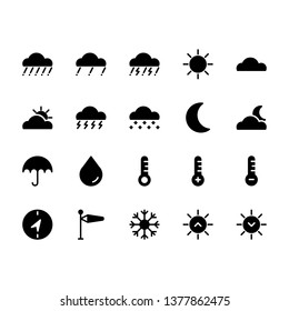 High quality icons for weather apps user interface