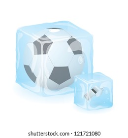 High Quality Isolated Soccer Ball And Referee Whistle In Ice Cube