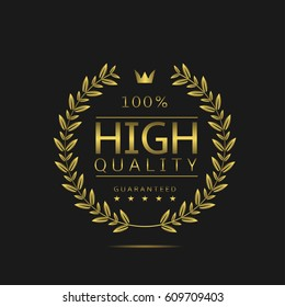 High quality label. Golden laurel wreath, sale promotion icon