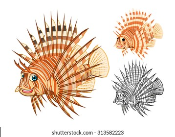High Quality Lion Fish Cartoon Character Include Flat Design and Line Art Version