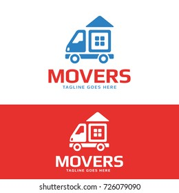 High quality logo concept features a moving van with the house on it. Great logo for removal service or delivery company. Stock vector logotype.